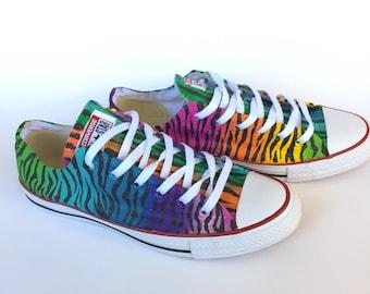 cc47911fdd Rainbow Zebra Print Custom Low Top Converse