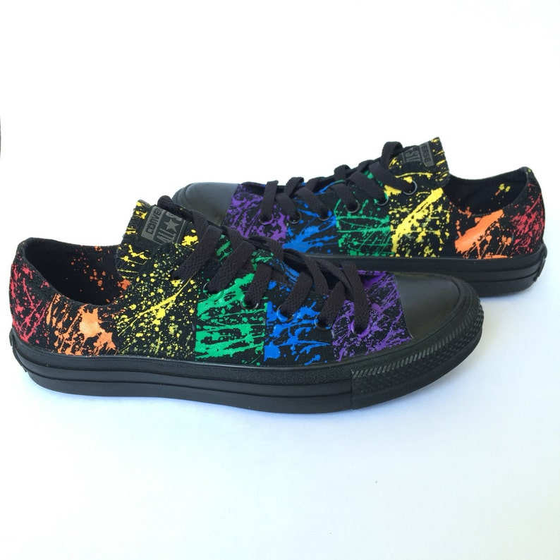 879ffb398b84af Gay Pride Paint Splatter Custom Converse Shoes The