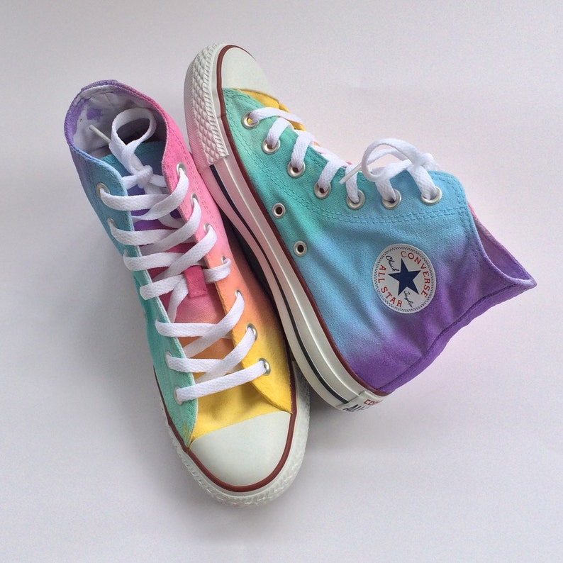 0b3ea12da1c5 Pastel Rainbow Tie Dye High Top Custom Converse