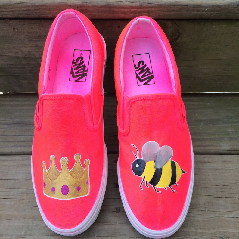 c70ae813d44a61 Queen Bee Crown Honeybee Emoji Custom Vans Shoes
