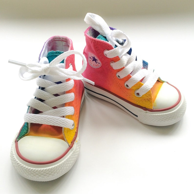 898859bcf14 Infant and Toddler Rainbow Converse Tie Dye High Tops