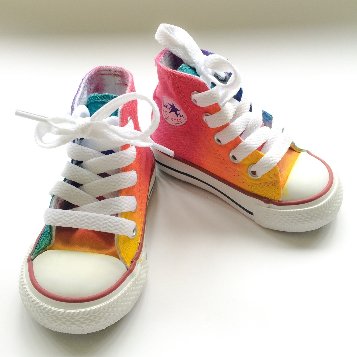 4730e91e4c2b Infant and Toddler Rainbow Converse Tie Dye High Tops