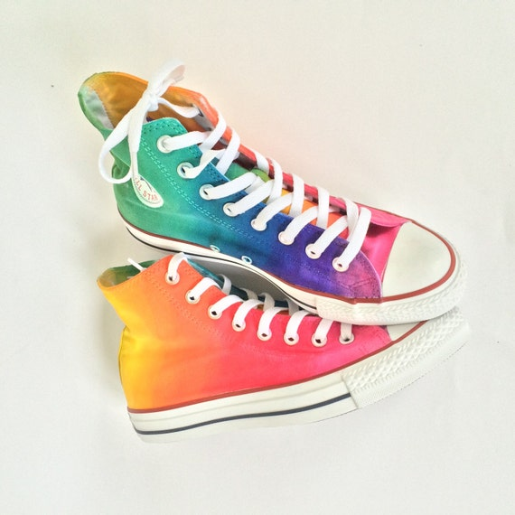 9948e1211454 Tie Dye Rainbow High Top Custom Converse Shoes