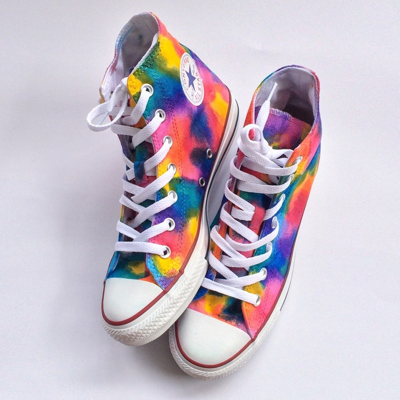 0ca8effdcab2 Rainbow Unicorn Vomit Tie Dye Custom Converse High Tops
