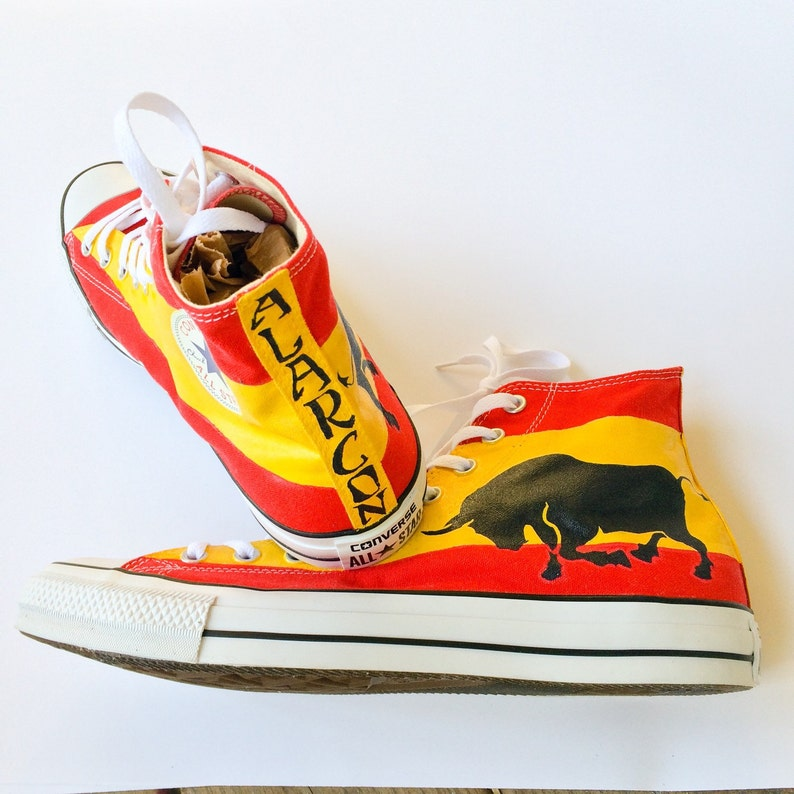ba49eb2ff922c3 Spanish Flag Charging Bull Custom Painted Converse Shoes