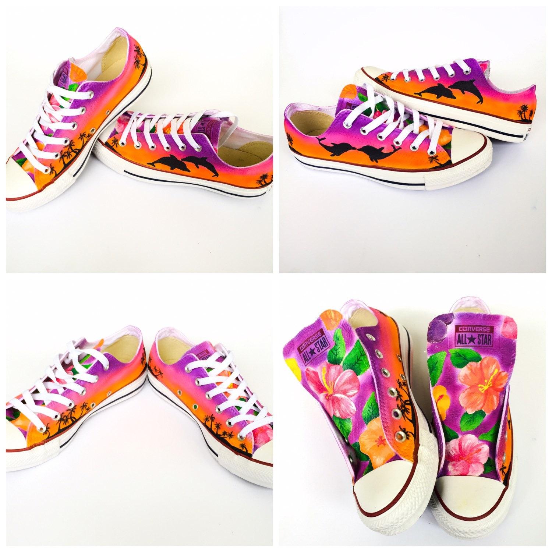 7195f45740e118 Custom Converse Hawaii Hibiscus Flower Beach Sunset and