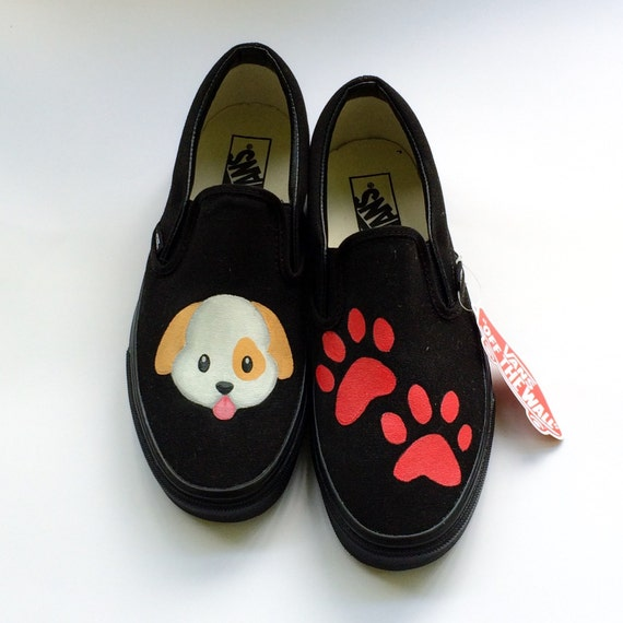 5c841637587ff6 Puppy Paw Prints Emoji Dog and Paw Print Custom Vans Shoes