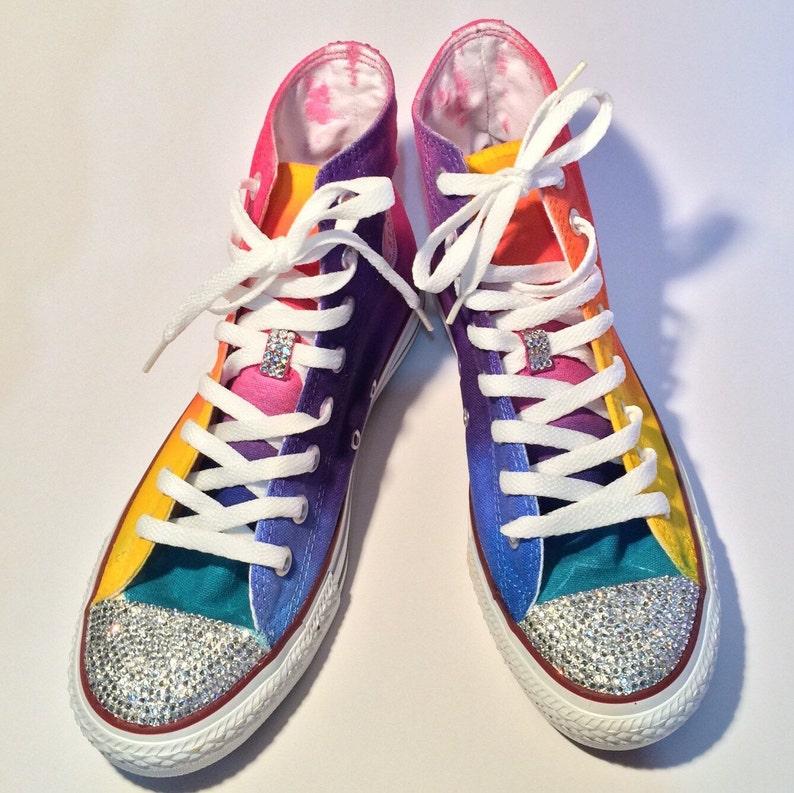 e24527bb2bcb7 Rainbow Rhinestone Custom Converse Shoes