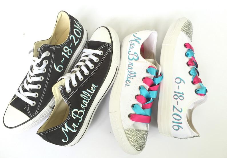 b6c2b18efe12 Bride and Groom Custom Painted Wedding Converse
