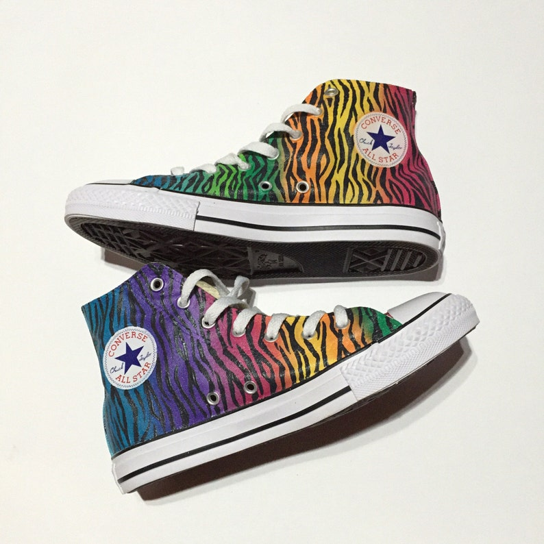 381e94e71aae Kids All Over Rainbow Zebra Print Converse for Youth