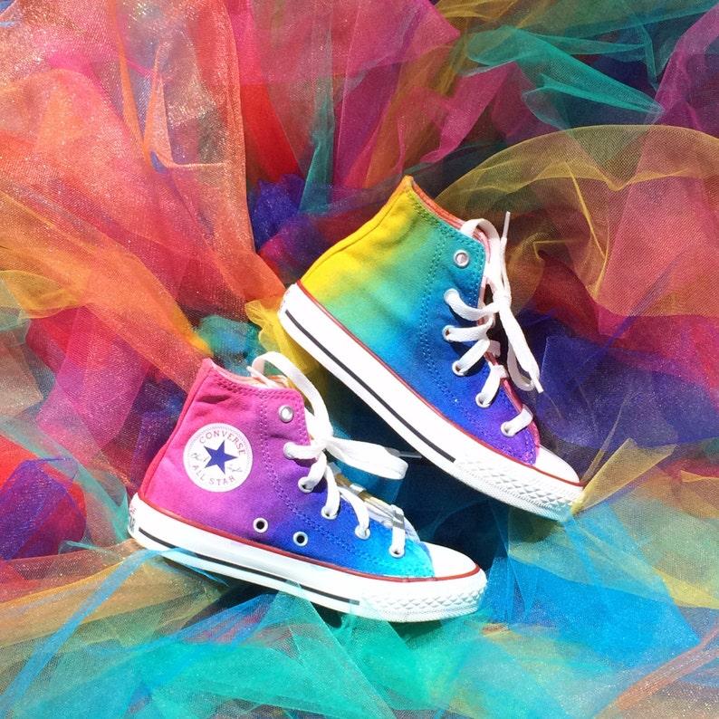 ed7936c3d50e64 Kids Rainbow Converse Tie Dye High Tops