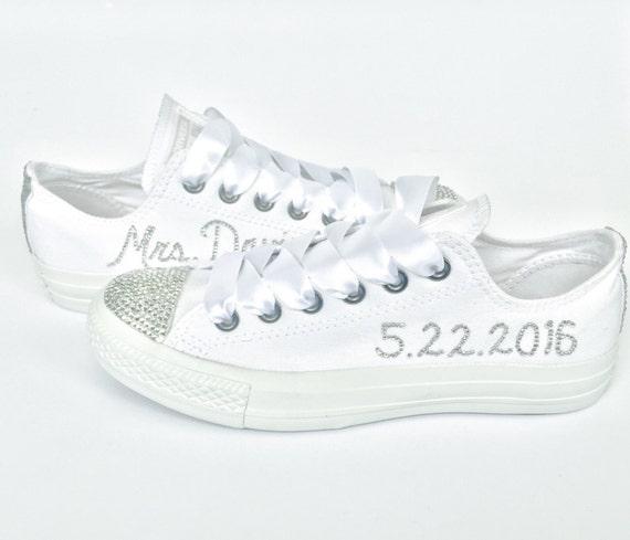 51c1336daa7 All White Custom Rhinestone Converse