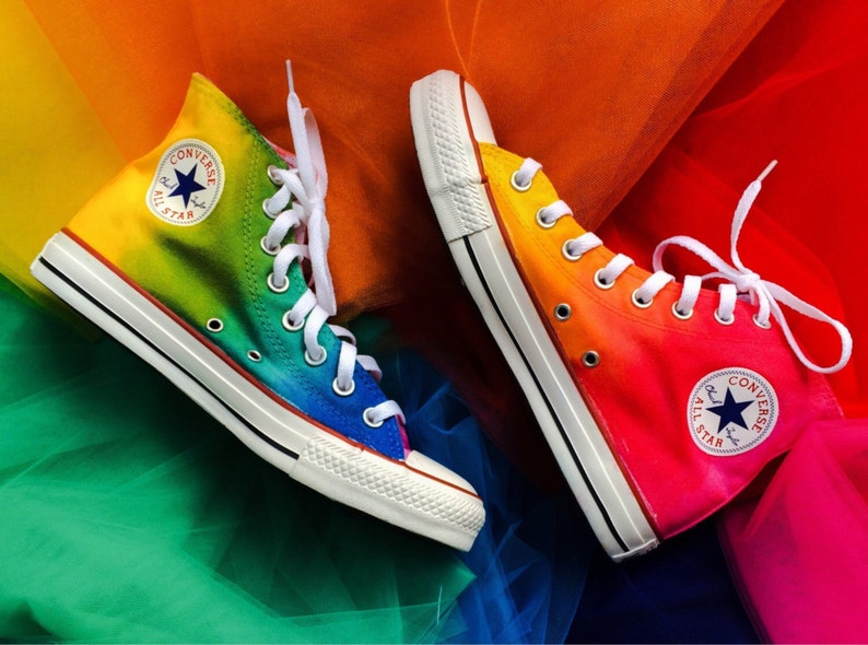 c61af56ec8a73d Rainbow Tie Dye Custom Converse High Top Shoes