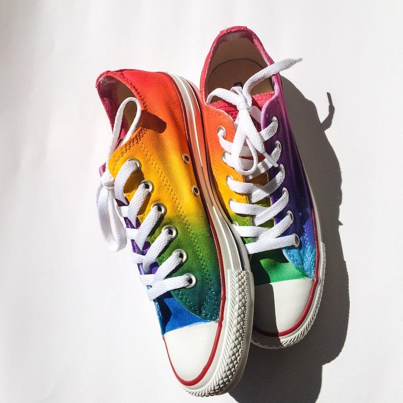 c46cc23f7318 Custom Converse Rainbow Tie Dye Low Top Shoes As Seen on Talk
