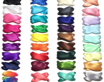 """Satin Ribbon Shoelaces 5/8"""" Premium Pair Choose Your Color Wedding Shoelaces Cheer Shoelaces"""