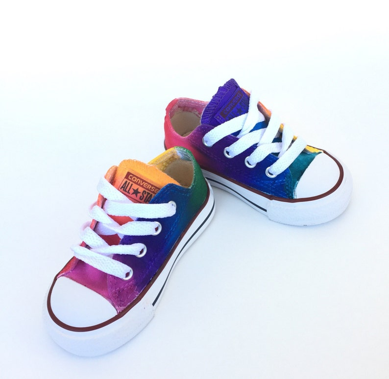 d0cc39f91438 Infant and Toddler Rainbow Converse Tie Dye Low Tops
