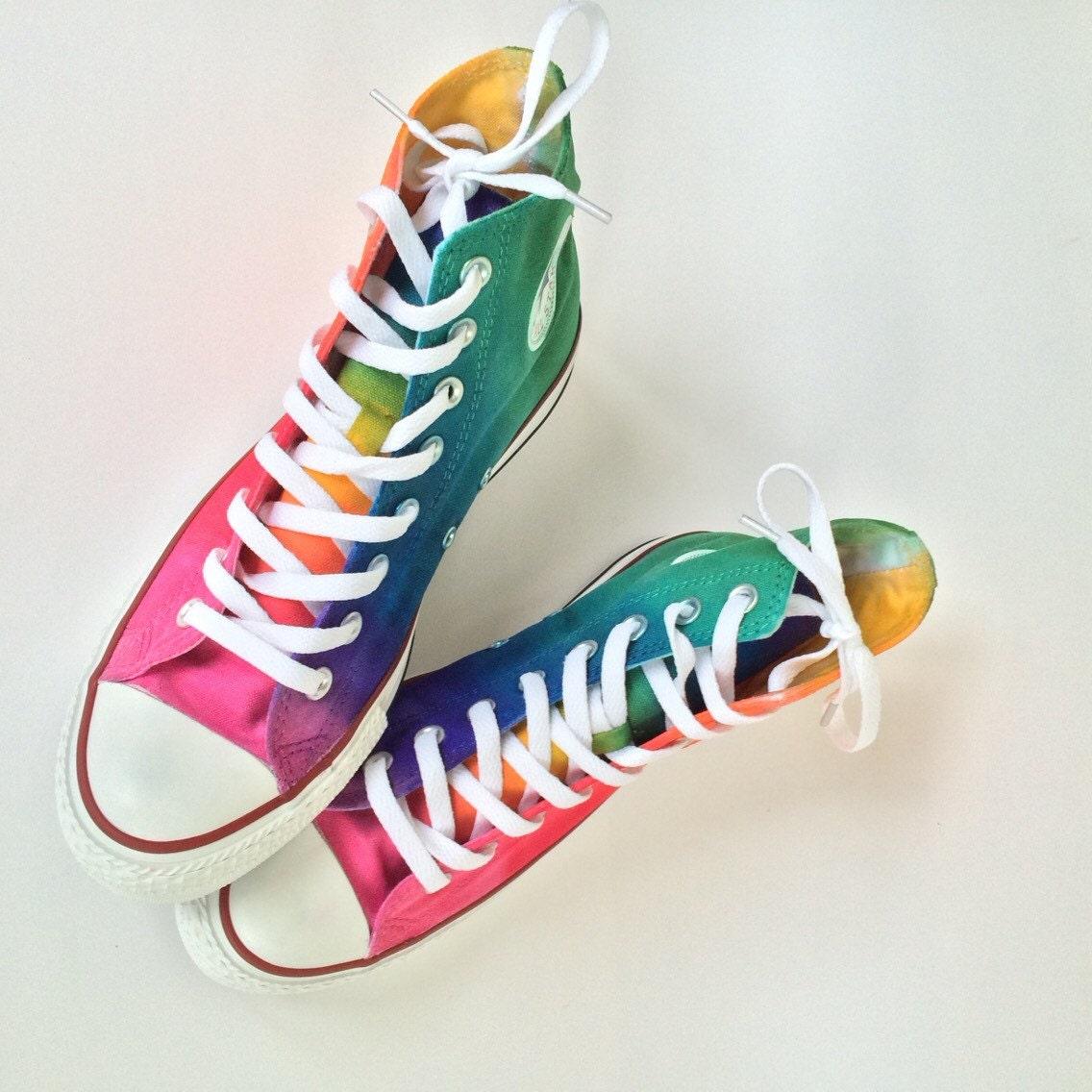 4da4ef2212626d Rainbow Converse Tie Dye Converse Ombre High Top Shoes