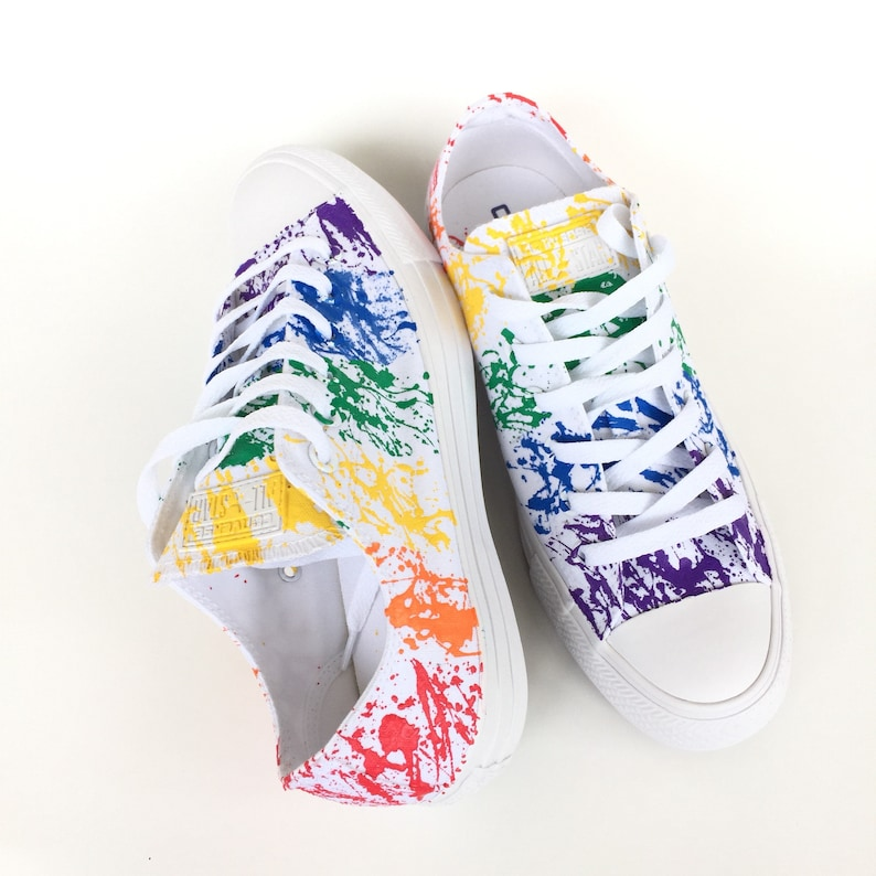 e6da765aa76b Gay Pride Paint Splatter Monochrome White Custom Converse