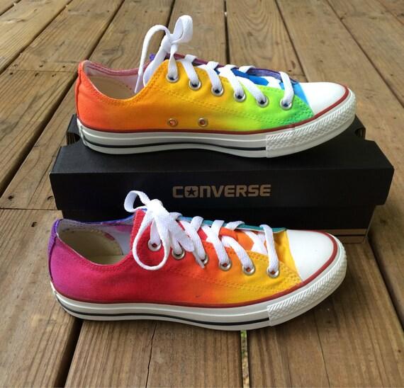 277ea4aa64f3 Rainbow Tie Dye Custom Converse Shoes As Seen on Talk Stoop
