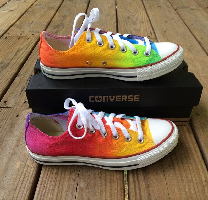 0ae9a416e1ed Rainbow Tie Dye Custom Converse Shoes As Seen on Talk Stoop