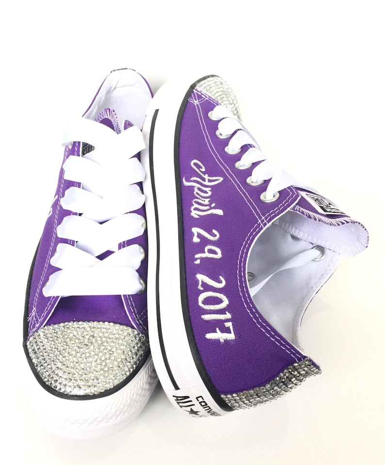 616b8d963bd Purple Bride Rhinestone Custom Converse Wedding