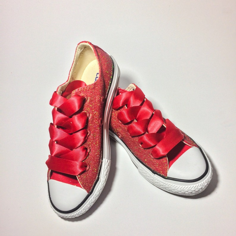 53689997f11e Kids Ruby Red Glitter Custom Kids Converse Choose Your Color