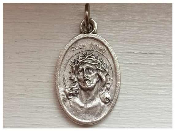 Patron Saint Medal Finding - Ecce Homo, Jesus, Die Cast Silverplate, Silver Color, Oxidized Metal, Made in Italy, Charm, Drop