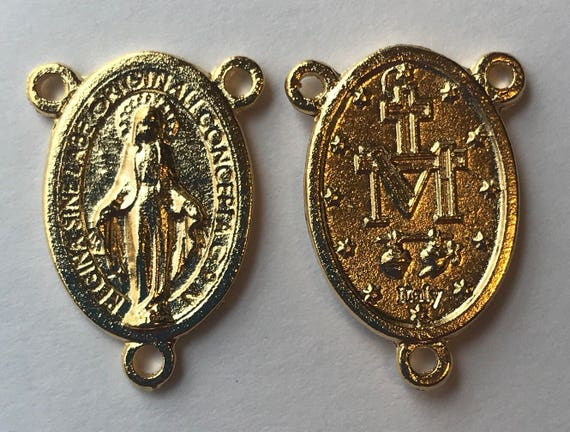 5 Rosary Center Findings, Mary Immaculate, Die Cast Goldplate, Gold Color, Oxidized Metal, Made in Italy, Charm, Religious