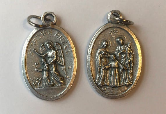 Patron Saint Medal Finding - Guardian Angel Holy Family, Die Cast Silverplate, Silver Color, Oxidized Metal, Made in Italy, Charm, Religious