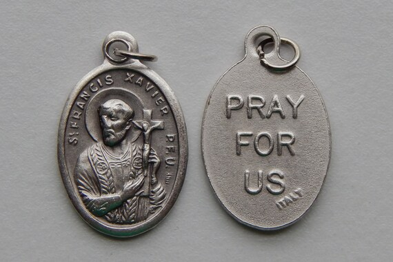 Patron Saint Medal Finding - St. Francis Xavier, Die Cast Silverplate, Silver Color, Oxidized Metal, Made in Italy, Charm, Drop