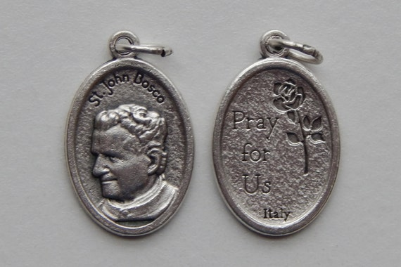 Patron Saint Medal Finding - St. John Bosco, Die Cast Silverplate, Silver Color, Oxidized Metal, Made in Italy, Charm, Drop