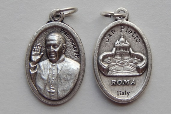 Patron Saint Medal Finding - Pope Francis, Franciscus, Die Cast Silverplate, Silver Color, Oxidized Metal, Italy Made, San Pietro