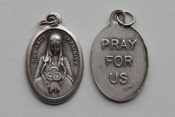 Patron Saint Medal Finding - Our Lady of Trinity, Die Cast Silverplate, Silver Color, Oxidized Metal, Made in Italy, Charm, Religious, Holy