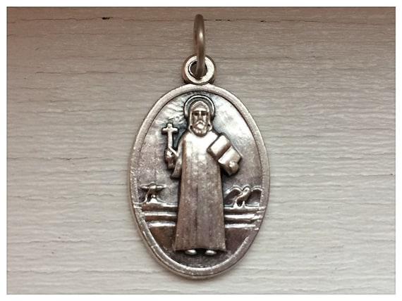 Patron Saint Medal Finding - St. Benedict, Large Oval, Die Cast Silverplate, Silver Color, Oxidized Metal, Made in Italy, Charm
