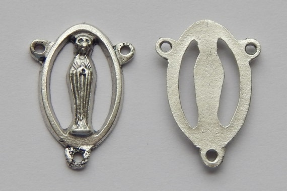 Rosary Center Piece Finding - 22mm Long, Mary, Openwork, Plain Back, Silver Color Oxidized Metal, Rosary Center, Religious