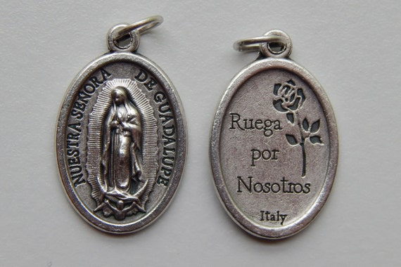 Patron Saint Medal Finding - Our Lady of Guadalupe, Die Cast Silverplate, Silver Color, Oxidized Metal, Made in Italy, Charm, Ruega, Drop