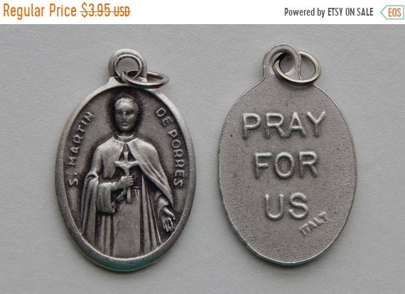 FINAL CLEARANCE 5 Patron Saint Medal Findings - St. Martin de Porres, Die Cast Silverplate, Silver Color, Oxidized Metal, Made in Italy, Cha