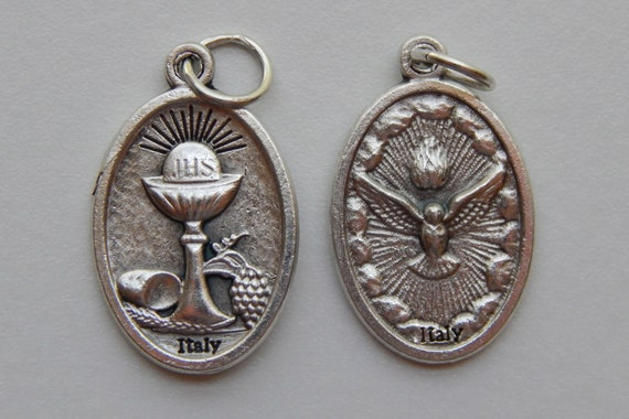 Patron Saint Medal Finding - Holy Spirit, Communion, Die Cast Silverplate, Silver Color, Oxidized Metal, Made in Italy, Charm, Religious
