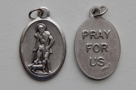 Patron Saint Medal Finding - St. Lazarus, Die Cast Silverplate, Silver Color, Oxidized Metal, Made in Italy, Charm, Drop, Religious