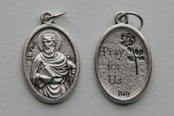 5 Patron Saint Medal Findings - St. Paul, Apostle, Die Cast Silverplate, Silver Color, Oxidized Metal, Made in Italy, Charm, Drop