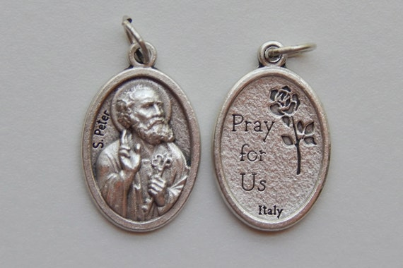 Patron Saint Medal Finding - S. Peter, Die Cast Silverplate, Silver Color, Oxidized Metal, Made in Italy, Charm, Drop, Religious