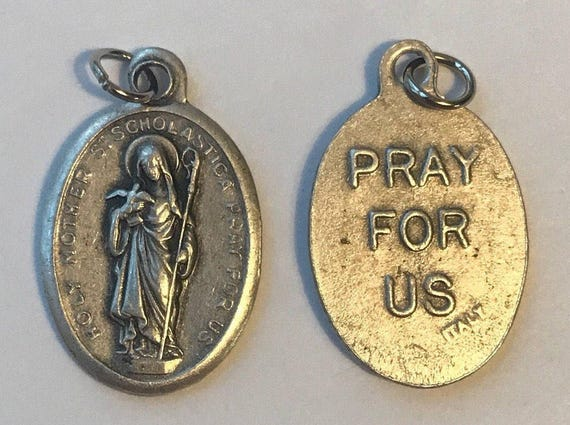 Patron Saint Medal Finding - St. Scholastica, Die Cast Silverplate, Silver Color, Oxidized Metal, Made in Italy, Charm, Drop, Religious