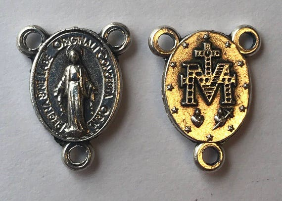 Rosary Center Finding - Mary Immaculate, Tiny, Die Cast Silverplate, Silver Color, Oxidized Metal, Made in Italy, Charm, Religious