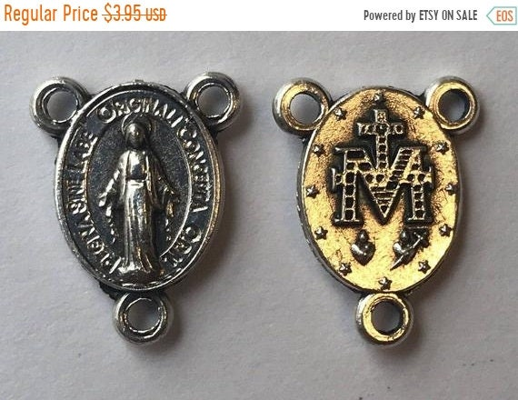 FINAL CLEARANCE 5 Rosary Center Findings, Mary Immaculate, Tiny, Die Cast Silverplate, Silver Color, Oxidized Metal, Made in Italy, Charm, R