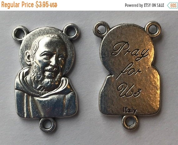FINAL CLEARANCE 5 Rosary Center Findings, Padre Pio, Pray, Die Cast Silverplate, Silver Color, Oxidized Metal, Made in Italy, Charm, Religio
