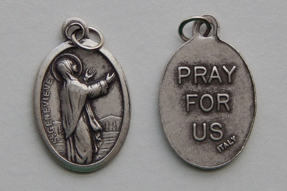 Patron Saint Medal Finding - St. Genevieve, Die Cast Silverplate, Silver Color, Oxidized Metal, Made in Italy, Charm, Drop, Religious, Holy