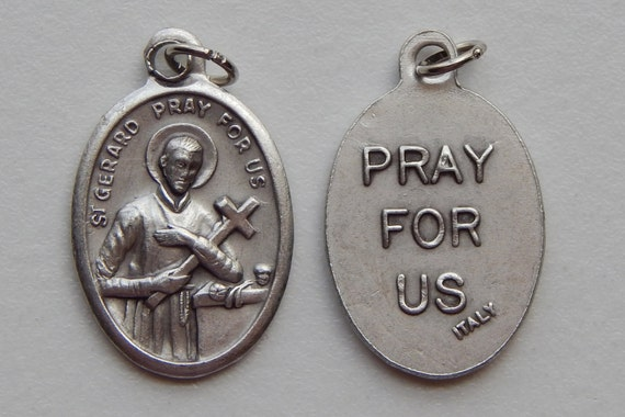Patron Saint Medal Finding - St. Gerard, Pray for US, Die Cast Silverplate, Silver Color, Oxidized Metal, Made in Italy, Charm, Religious