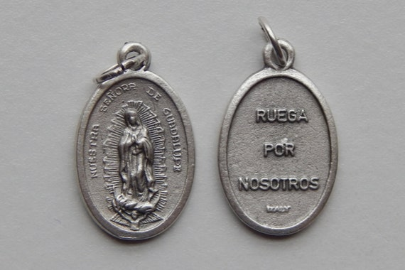 5 Patron Saint Medal Findings - Nuestra Senora de Guadalupe, Die Cast Silverplate, Silver Color, Oxidized Metal, Italy Made, Charm