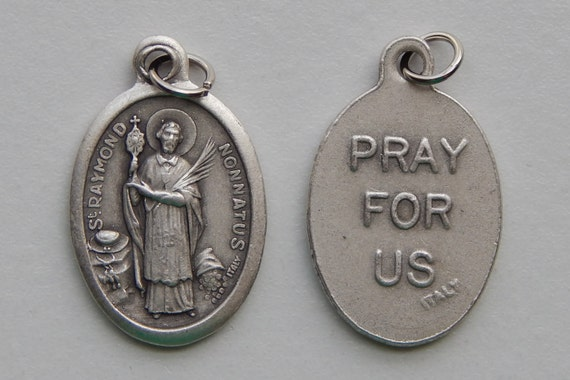 Patron Saint Medal Finding - St. Raymond Nonnatus, Die Cast Silverplate, Silver Color, Oxidized Metal, Made in Italy, Charm, Drop, Religious