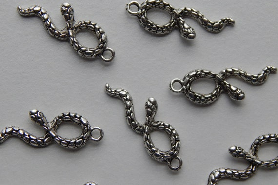 10 Pieces of Metal Jewelry Charms - 33mm Snake, Animal, Woods, Nature, Drop, Double Sided, Antique Silver Color, Base Metal, Nice Details